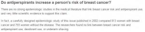 حقيقة الإصابة بسرطان الثدي نتيجة استعمال مضادات التعرق