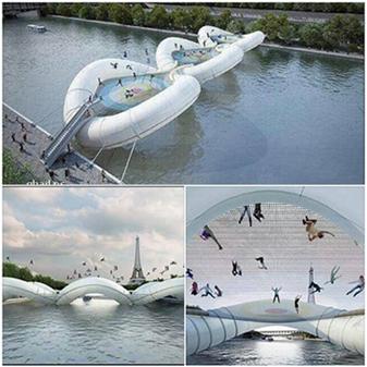 حقيقة جسر الترامبولين في باريس