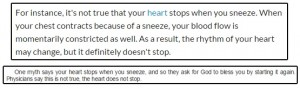 حقيقة ان القلب بيتوقف اثناء العطس