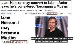 حقيقة اسلام ليام نيسون