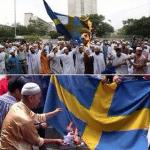 حقيقة حرق اللاجئين لعلم السويد .