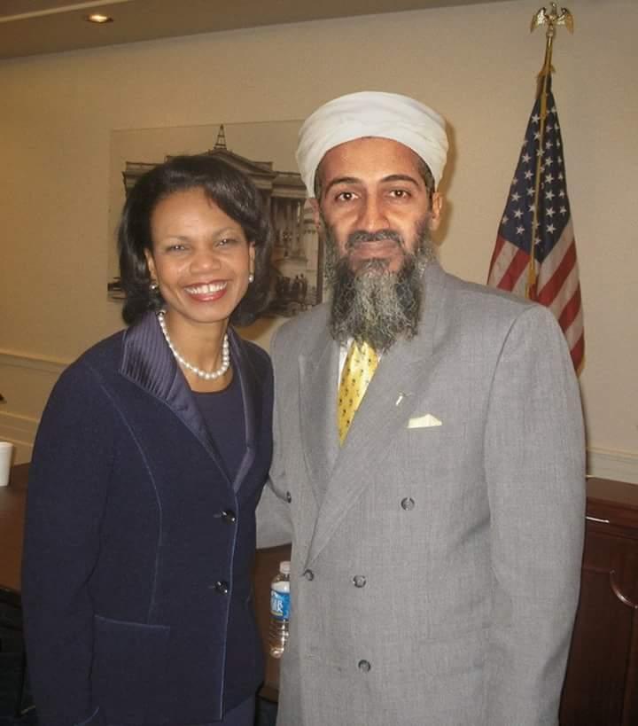 حقيقة صورة ل (بن لادن) مع كونداليزا رايس