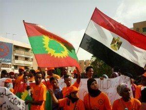 حقيقة صورة رفع علم مصر في مظاهرات في اثيوبيا .