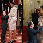 حقيقة صورة رئيس فرنسا يكرم لاعبة عملاقة