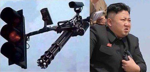 حقيقة اشارة مرور معاها رشاش في كوريا الشمالية
