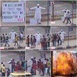 حقيقة تفجير ارهابي نفسه بعد أن اجتمعت الناس بجواره