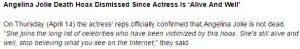 حقيقة وفاة الفنانة انجلينا جولي