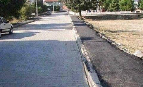 حقيقة صورة سفلتة الرصيف و تبليط الشارع