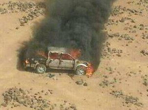 حقيقة صورة عربة مدمرة في سيناء