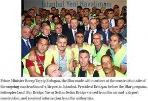 حقيقة افطار اردوغان مع عمال النظافة
