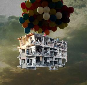 حقيقة تمثال لفنان سوري من حجارة أنقاض بيته