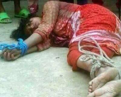 حقيقة صورة سيدة في بورما اغتصبت وهي مكبلة اليدين