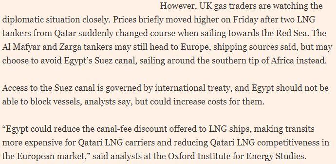 حقيقة منع سفينتين غاز قطريتين من المرور في قناة السويس