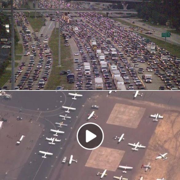 مئات الطائرات تستعد للإقلاع من مطار فلوريدا هربا من اعصار إرما الهروب الكبير