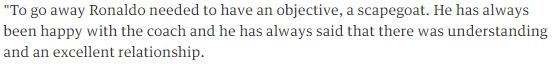 حقيقة عدم اقتناع هيكتور كوبر برونالدو