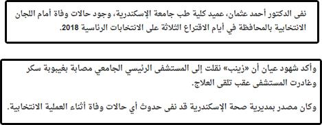 حقيقة وفاة سيدة مسنة امام لجنة الانتخابات بالاسكندرية