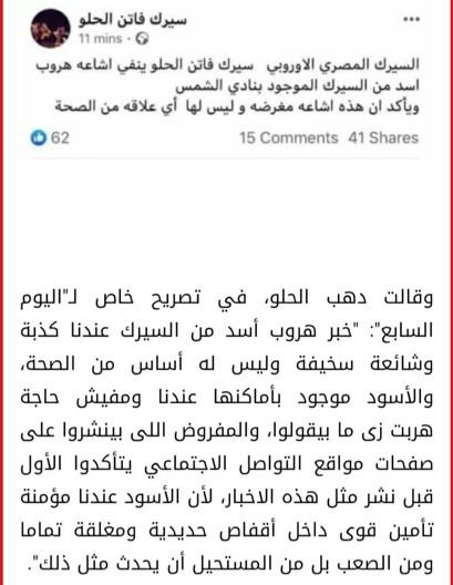 حقيقة هروب اسد من سيرك فاتن الحلو
