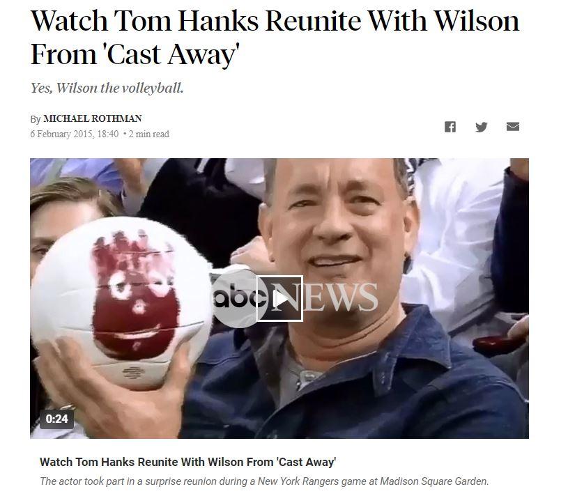 حقيقة صورة توم هانكس مع ويلسون في الحجر الصحي