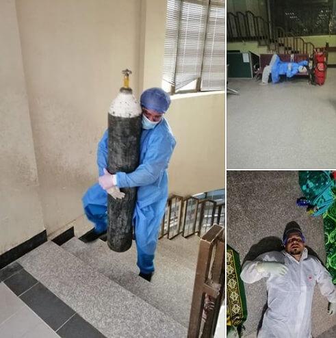 حقيقة صورة الدكتور محمد حشاد يحمل أسطوانة الأكسجين