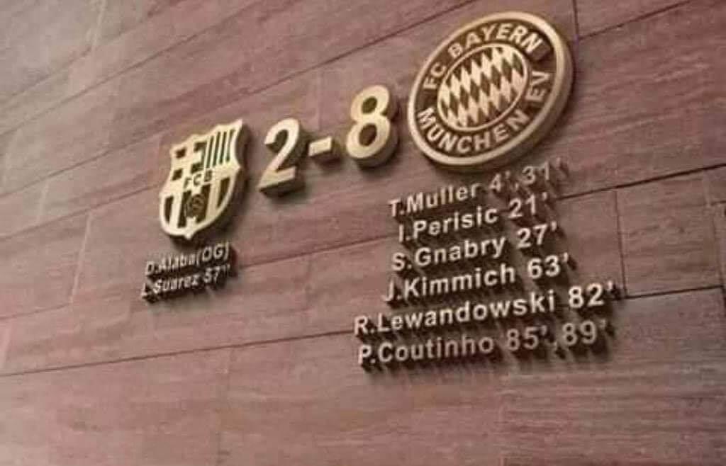 حقيقة نحت بايرن ميونيخ نتيجة مباراة برشلونة على جدار متحفه الخاص